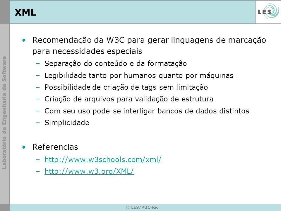 XML Recomendação da W3C para gerar linguagens de marcação para necessidades especiais. Separação do conteúdo e da formatação.