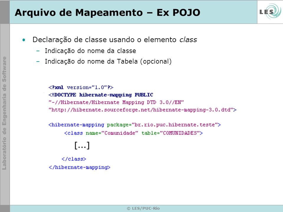 Arquivo de Mapeamento – Ex POJO