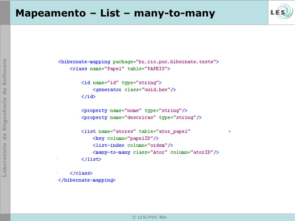 Mapeamento – List – many-to-many