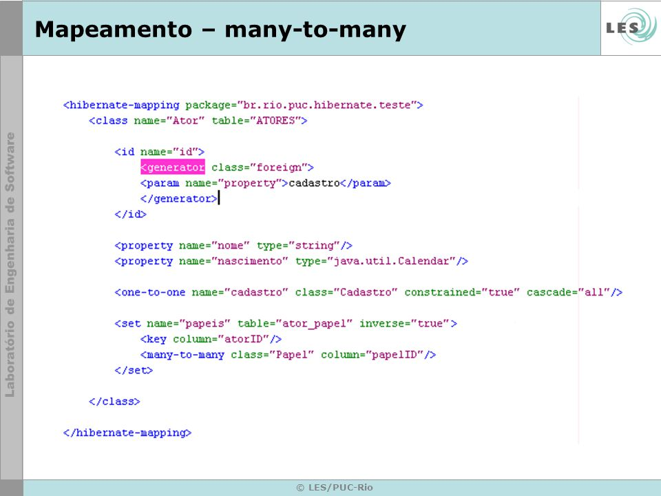 Mapeamento – many-to-many