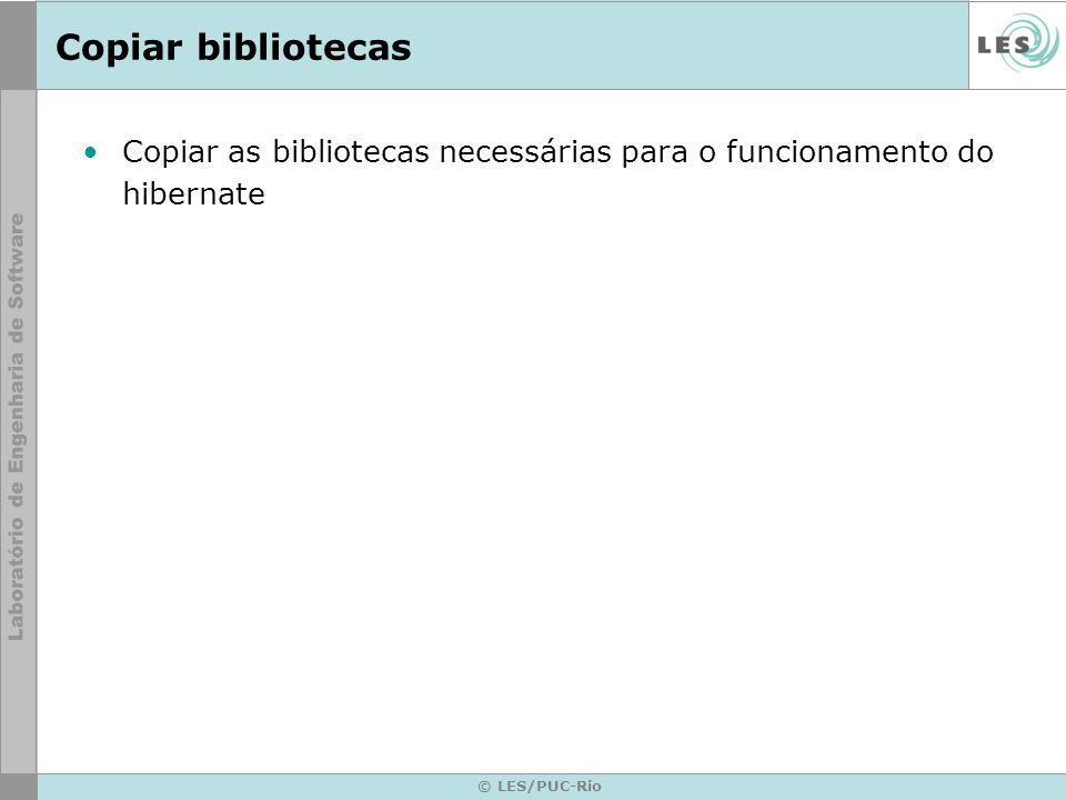 Copiar bibliotecas Copiar as bibliotecas necessárias para o funcionamento do hibernate.