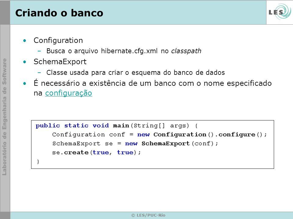 Criando o banco Configuration SchemaExport