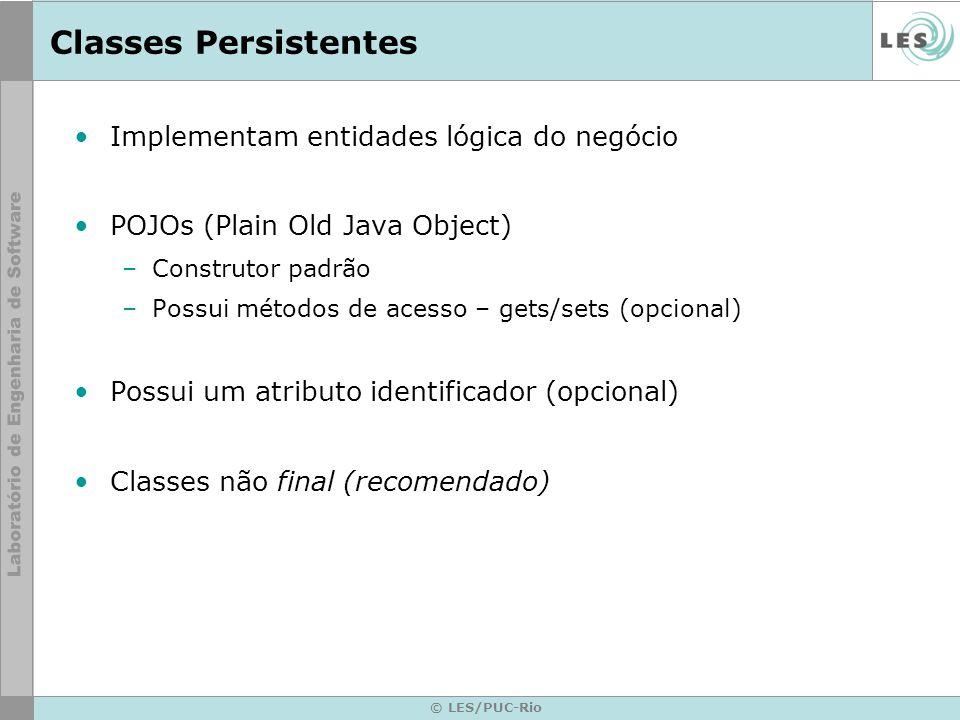 Classes Persistentes Implementam entidades lógica do negócio