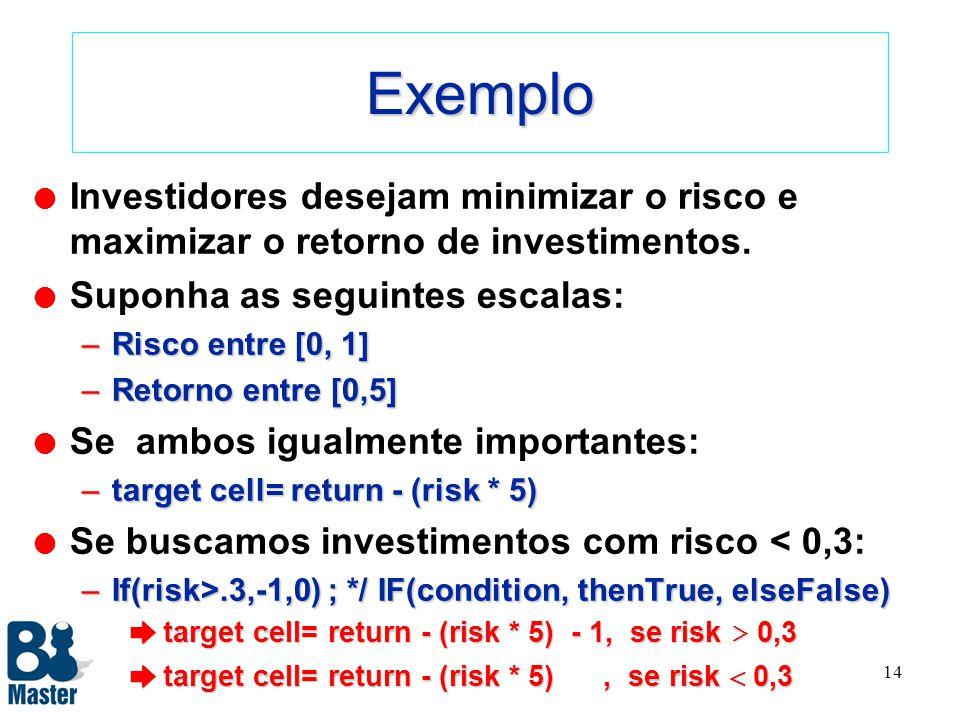 Exemplo Investidores desejam minimizar o risco e maximizar o retorno de investimentos. Suponha as seguintes escalas: