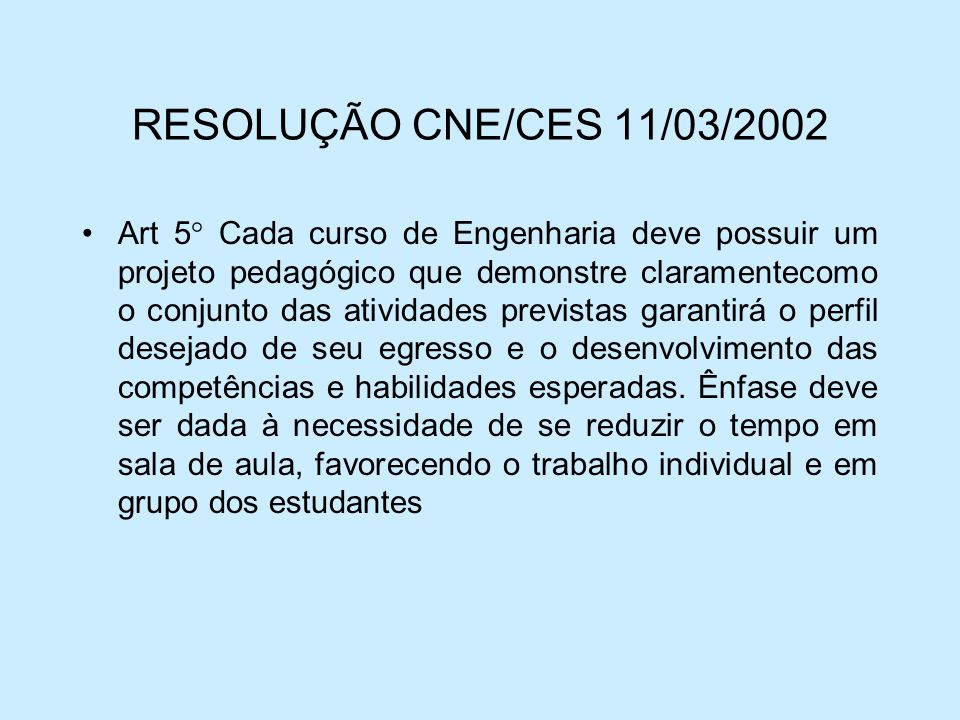 RESOLUÇÃO CNE/CES 11/03/2002