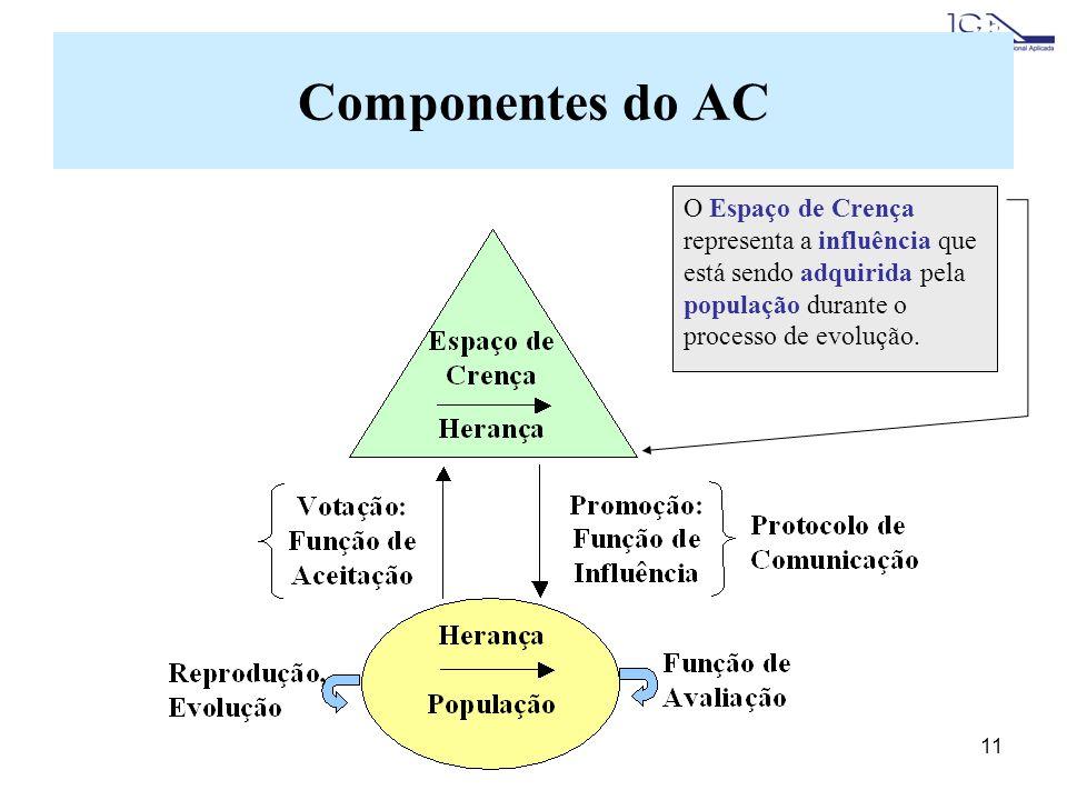 Componentes do AC O Espaço de Crença representa a influência que está sendo adquirida pela população durante o processo de evolução.