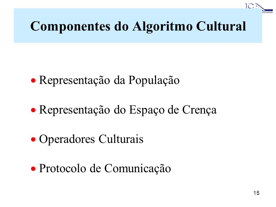Componentes do Algoritmo Cultural
