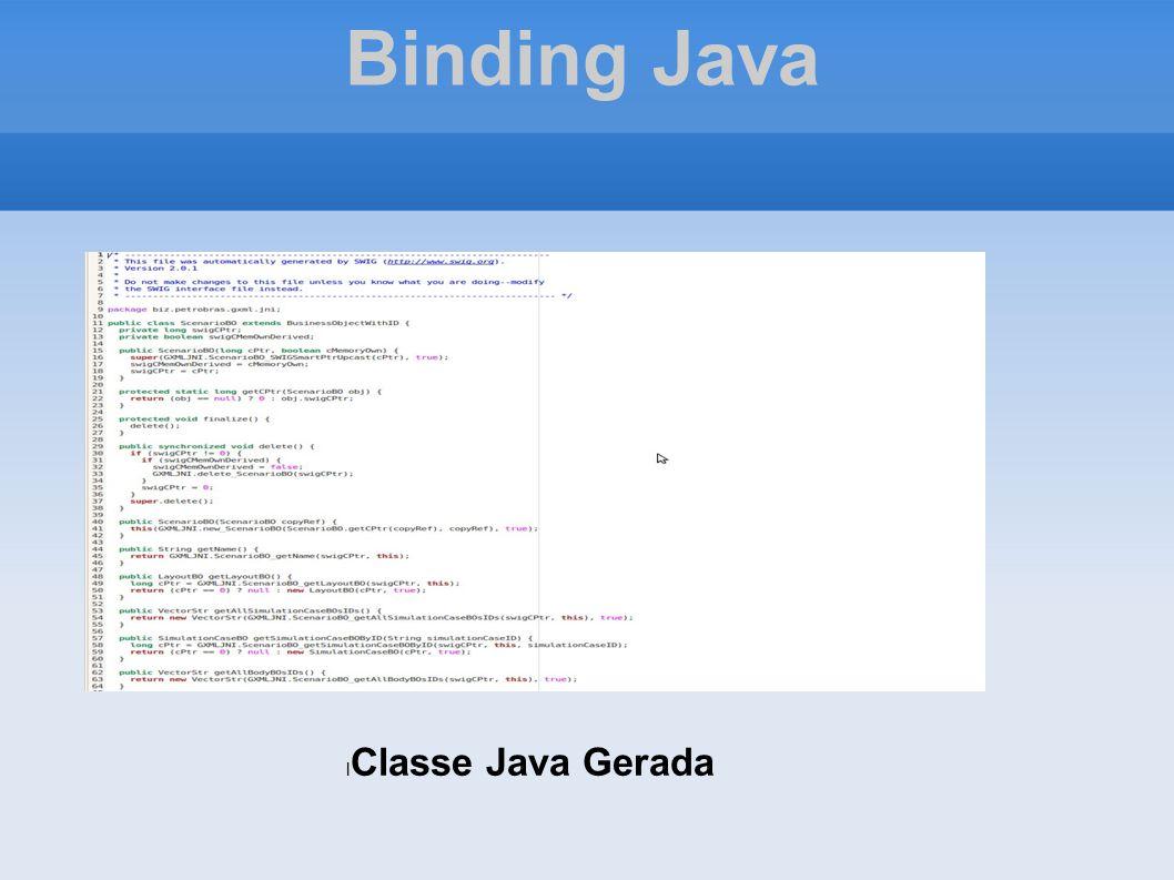 Binding Java Classe Java Gerada