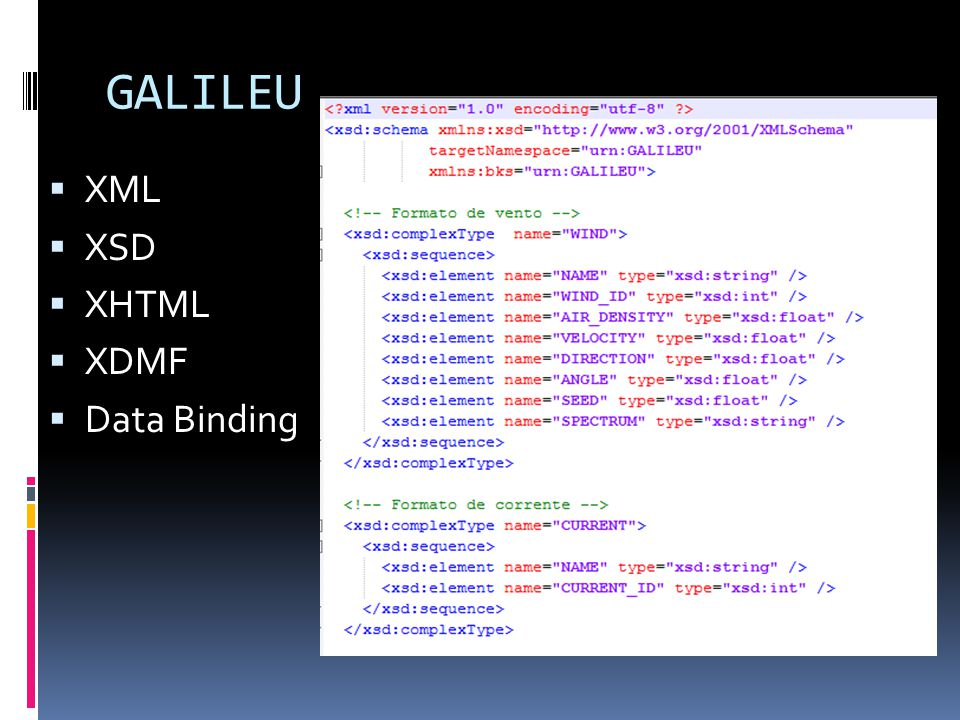 GALILEU XML XSD XHTML XDMF Data Binding
