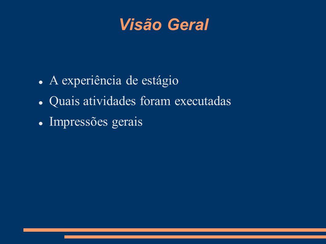 Visão Geral A experiência de estágio Quais atividades foram executadas