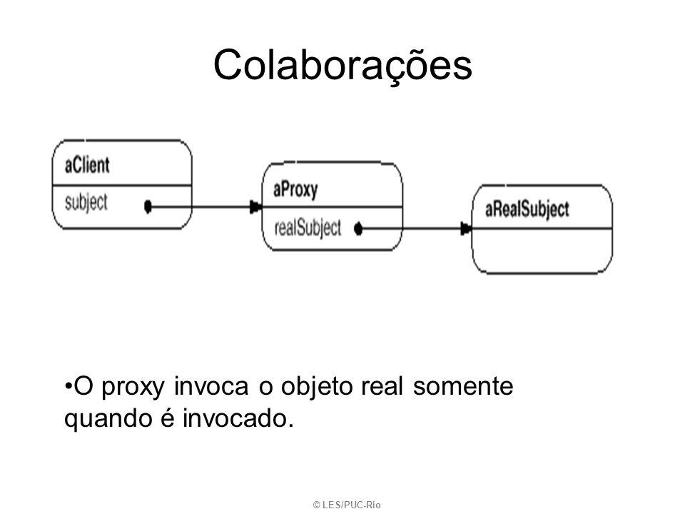 Colaborações O proxy invoca o objeto real somente quando é invocado.