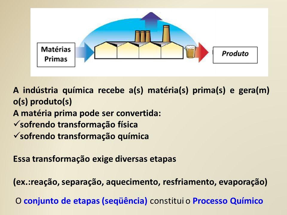 A indústria química recebe a(s) matéria(s) prima(s) e gera(m) o(s) produto(s)