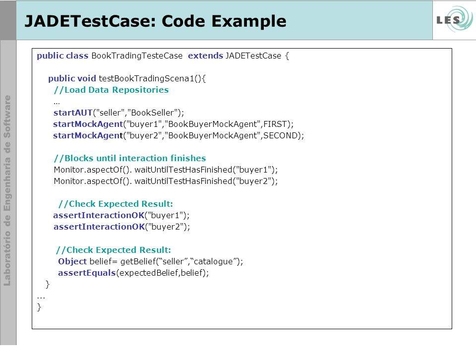 JADETestCase: Code Example