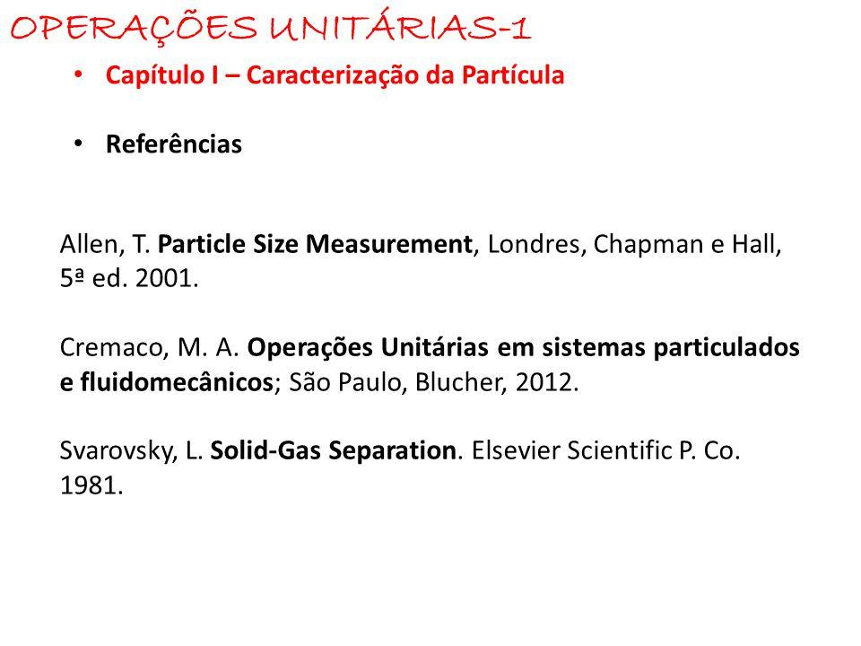 OPERAÇÕES UNITÁRIAS-1 Capítulo I – Caracterização da Partícula
