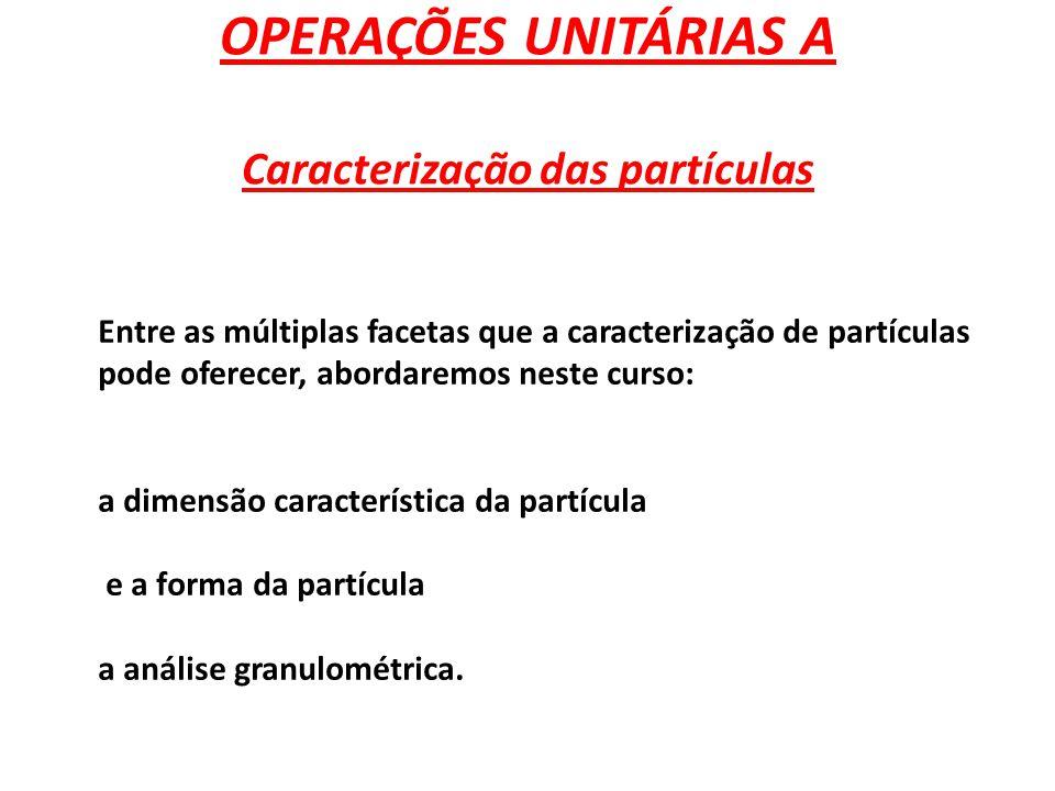 OPERAÇÕES UNITÁRIAS A Caracterização das partículas