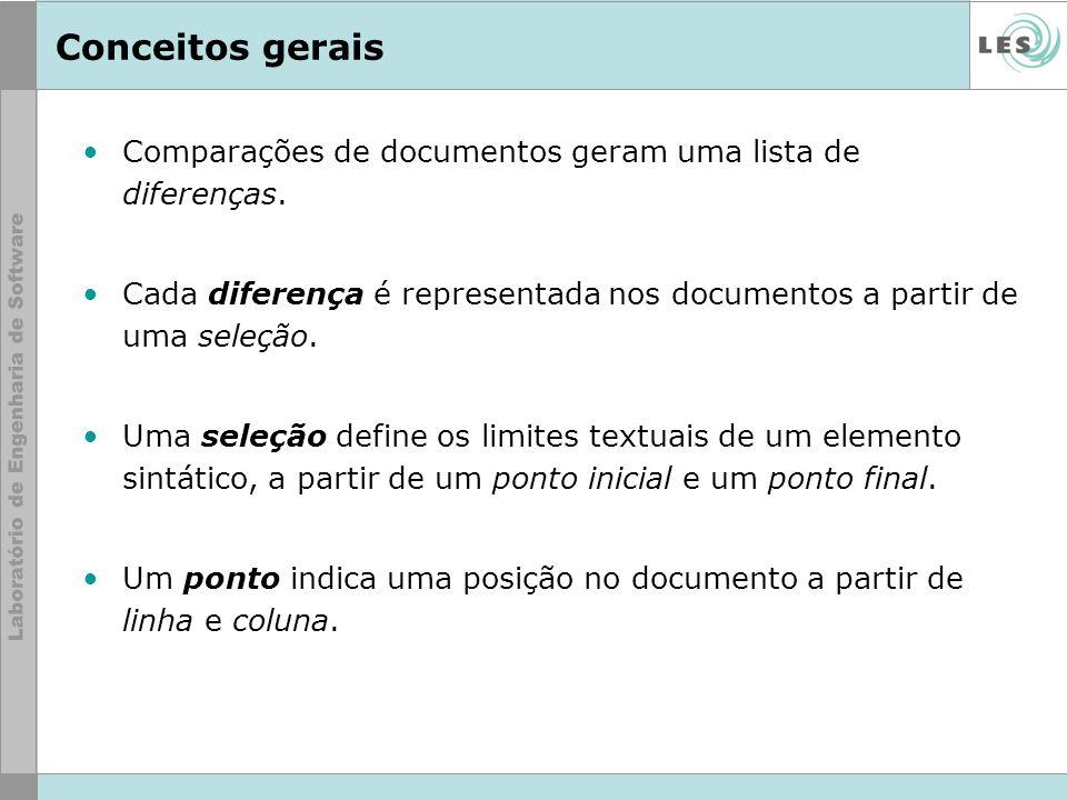 Conceitos gerais Comparações de documentos geram uma lista de diferenças. Cada diferença é representada nos documentos a partir de uma seleção.