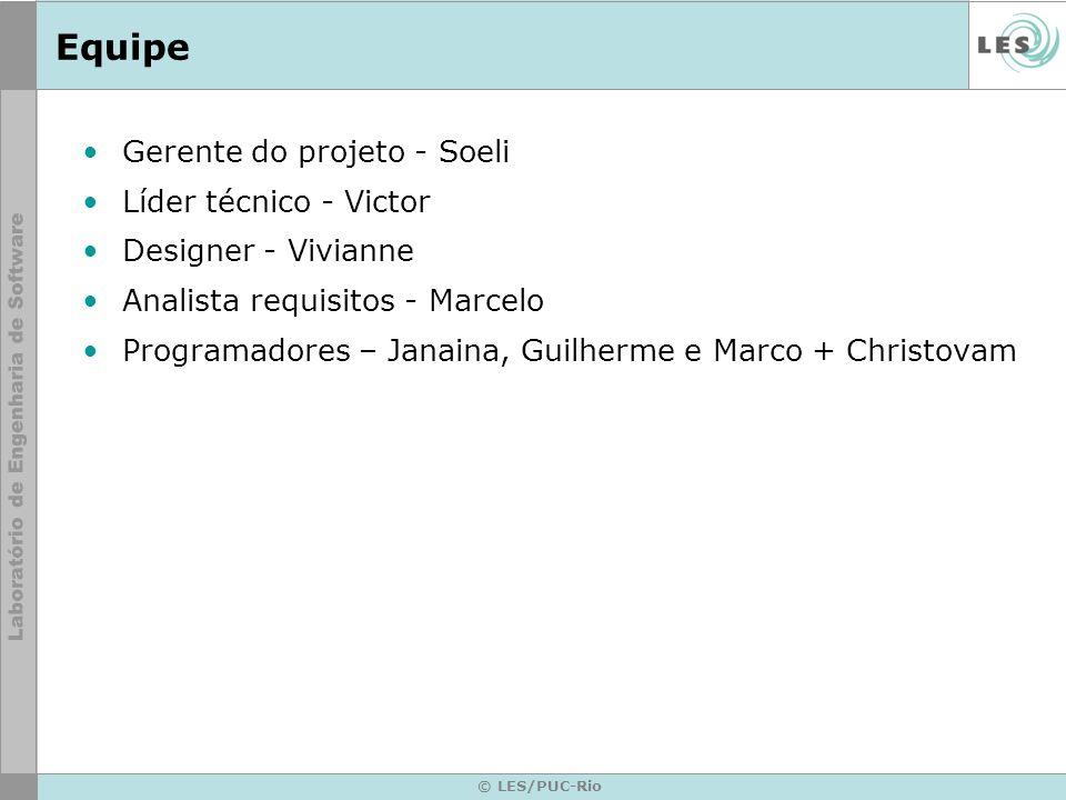 Equipe Gerente do projeto - Soeli Líder técnico - Victor