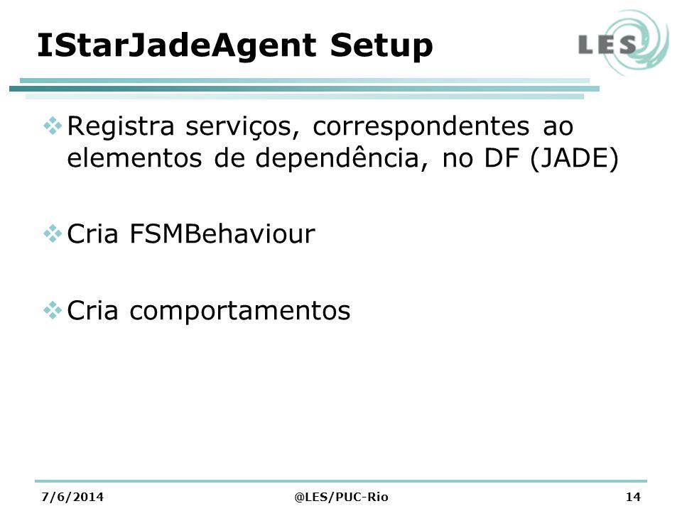 IStarJadeAgent Setup Registra serviços, correspondentes ao elementos de dependência, no DF (JADE) Cria FSMBehaviour.