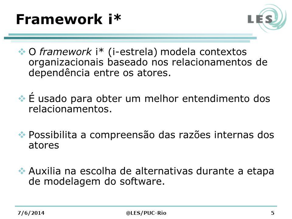 Framework i* O framework i* (i-estrela) modela contextos organizacionais baseado nos relacionamentos de dependência entre os atores.