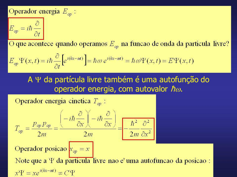 A  da partícula livre também é uma autofunção do operador energia, com autovalor ħ.