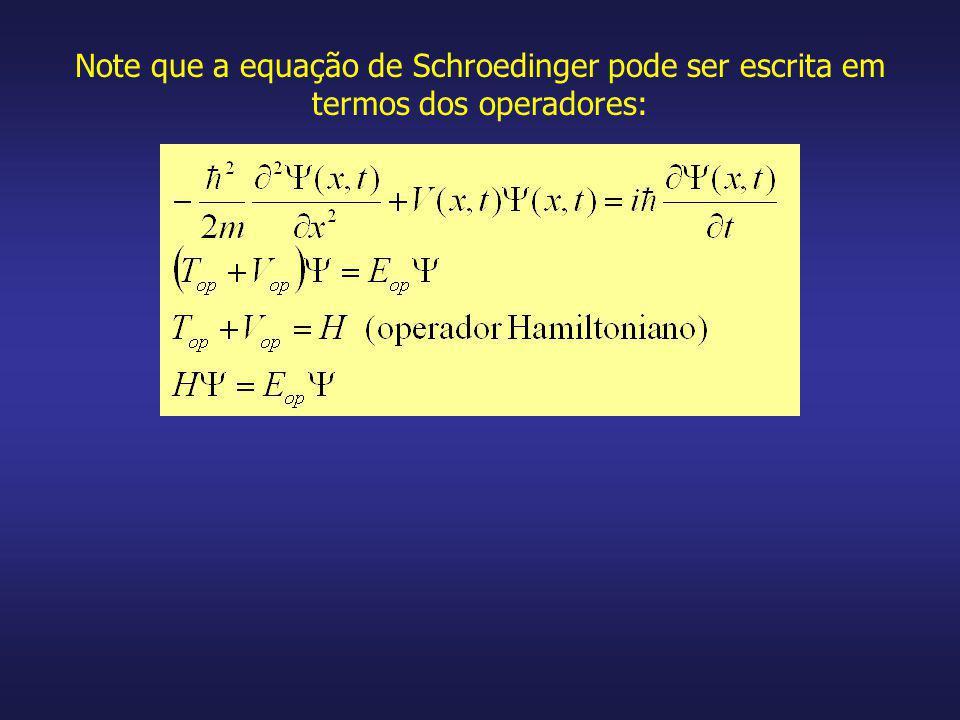 Note que a equação de Schroedinger pode ser escrita em termos dos operadores: