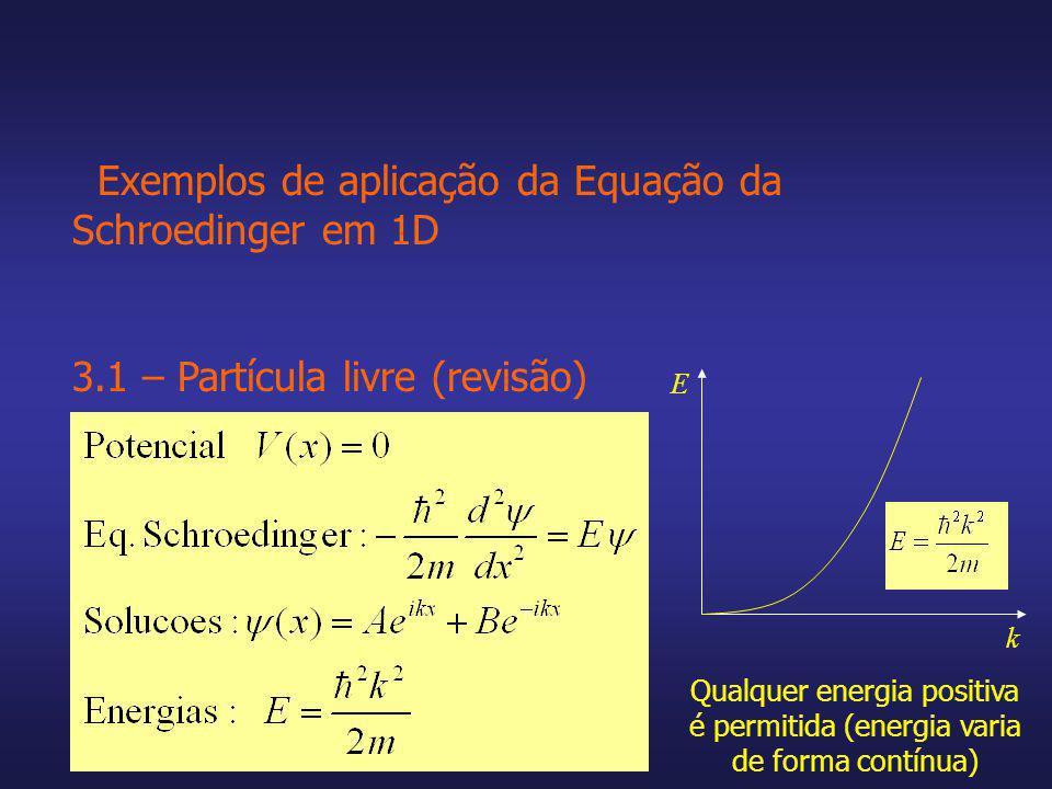 Exemplos de aplicação da Equação da Schroedinger em 1D