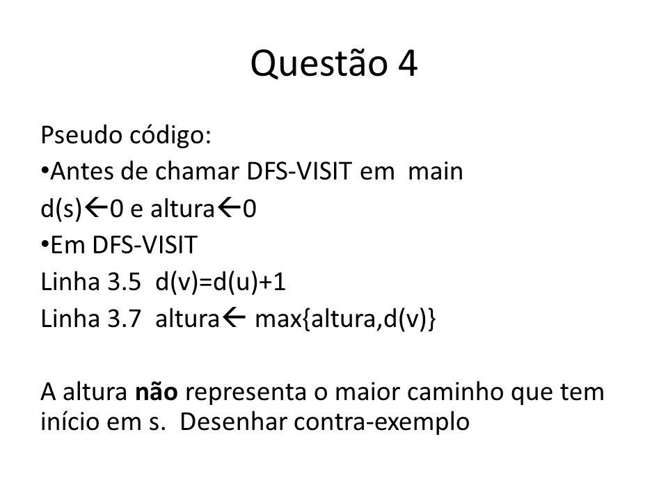Questão 4 Pseudo código: Antes de chamar DFS-VISIT em main