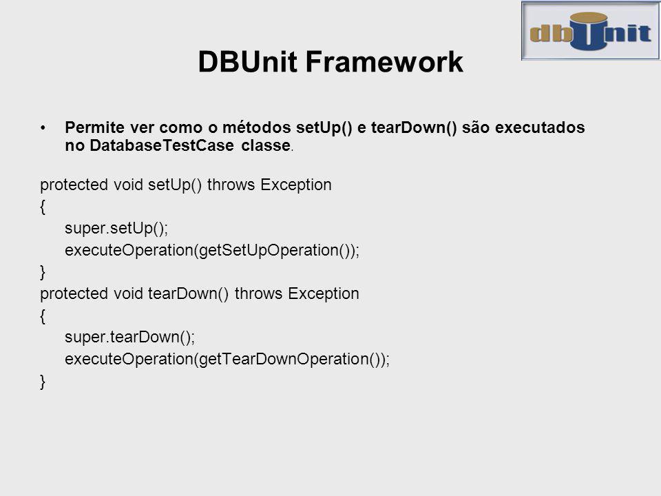 DBUnit Framework Permite ver como o métodos setUp() e tearDown() são executados no DatabaseTestCase classe.