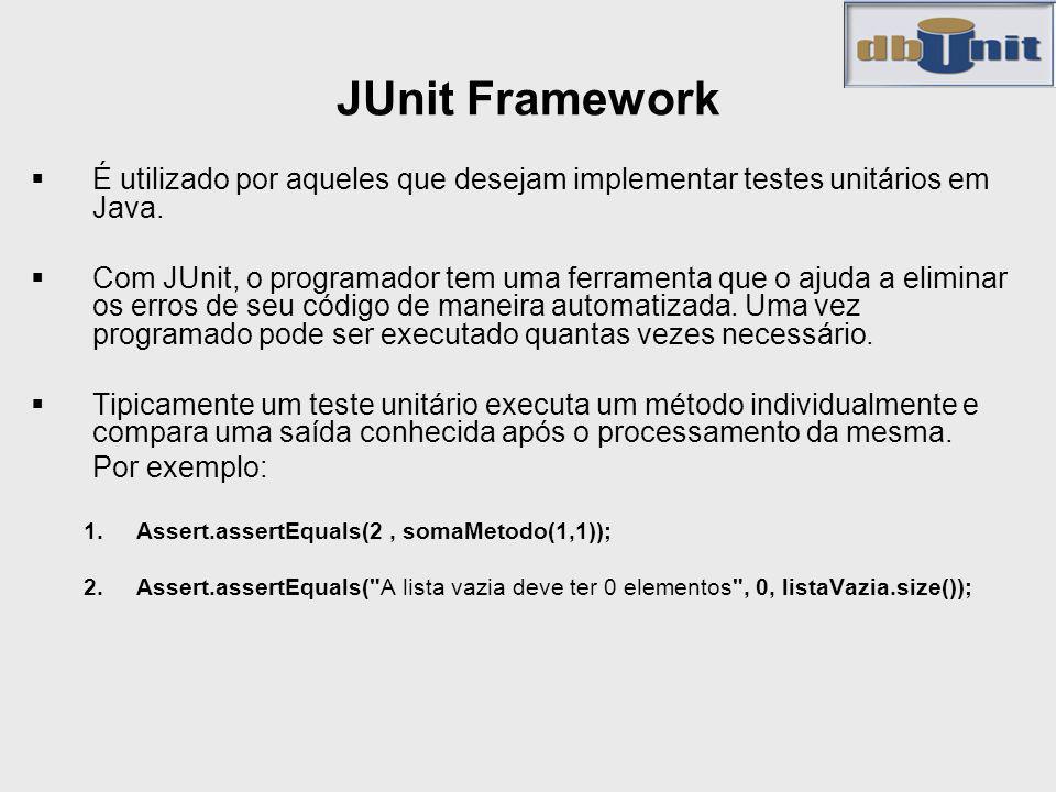 JUnit Framework É utilizado por aqueles que desejam implementar testes unitários em Java.