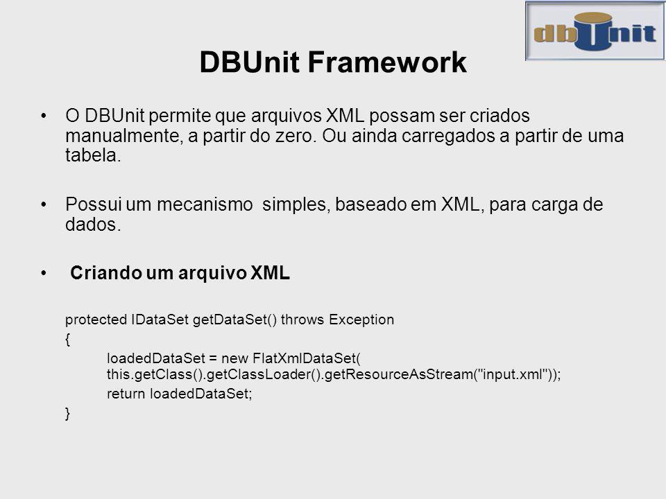 DBUnit Framework O DBUnit permite que arquivos XML possam ser criados manualmente, a partir do zero. Ou ainda carregados a partir de uma tabela.