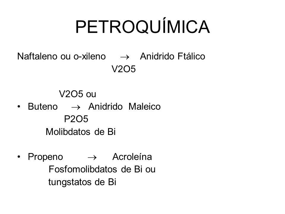 PETROQUÍMICA Naftaleno ou o-xileno  Anidrido Ftálico V2O5 V2O5 ou