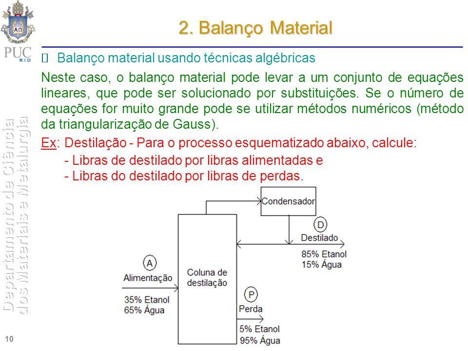 2. Balanço Material  Balanço material usando técnicas algébricas