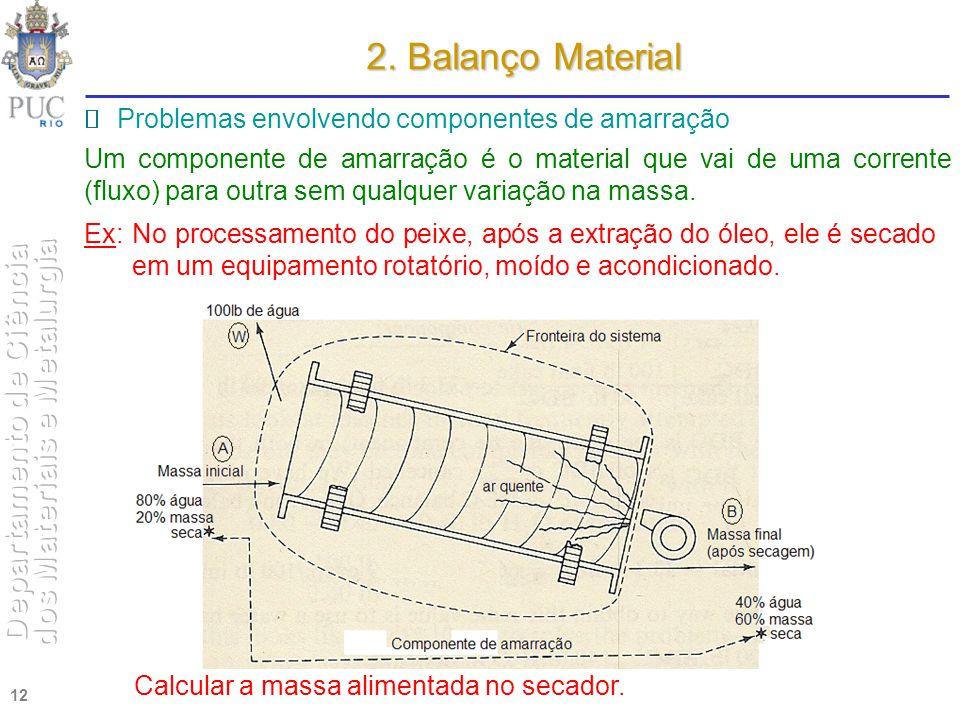 2. Balanço Material  Problemas envolvendo componentes de amarração