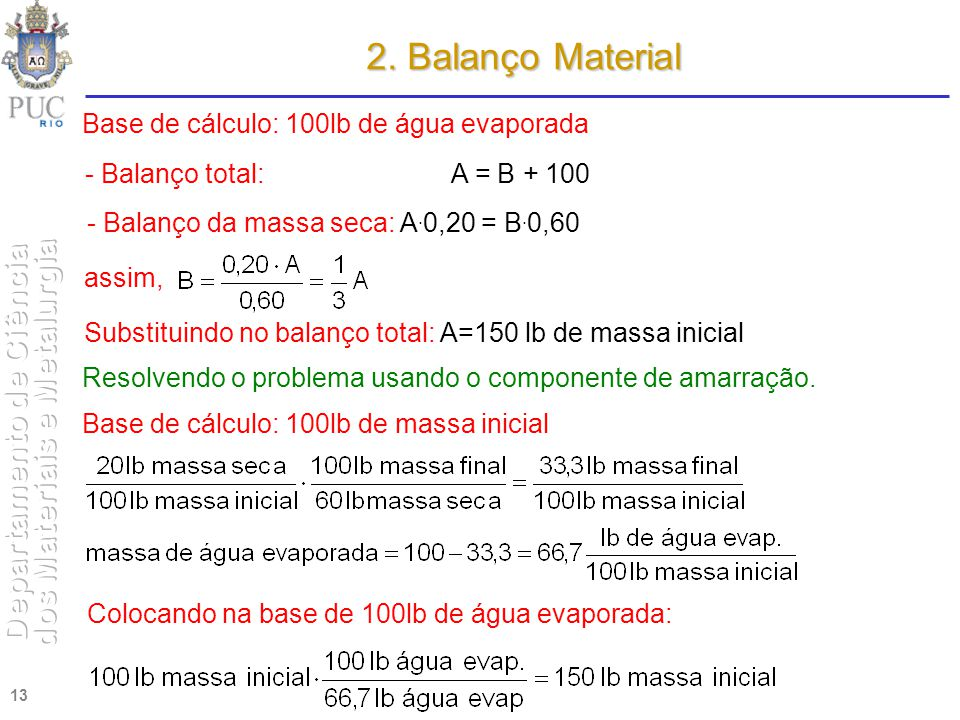 2. Balanço Material Base de cálculo: 100lb de água evaporada