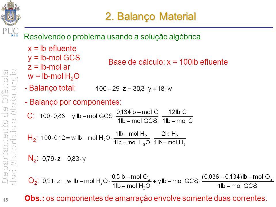 2. Balanço Material Resolvendo o problema usando a solução algébrica
