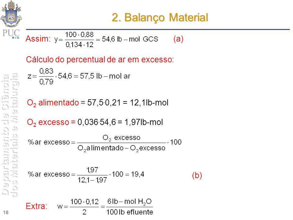 2. Balanço Material Assim: (a) Cálculo do percentual de ar em excesso: