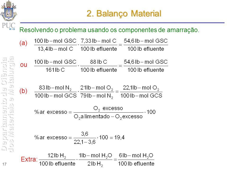 01.04.2017 2. Balanço Material. Resolvendo o problema usando os componentes de amarração. (a) ou.