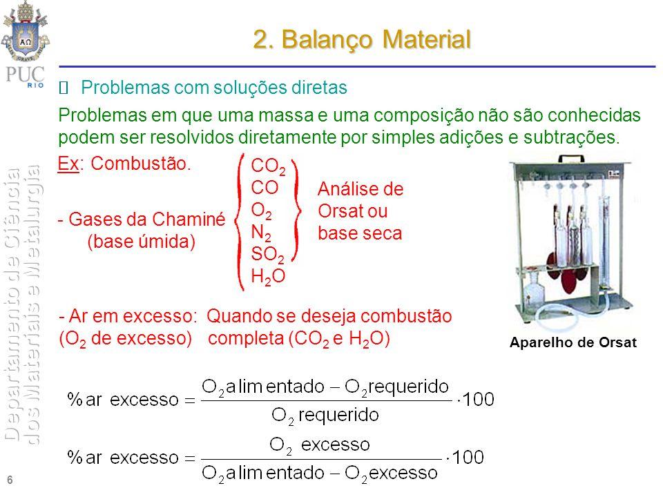 2. Balanço Material  Problemas com soluções diretas