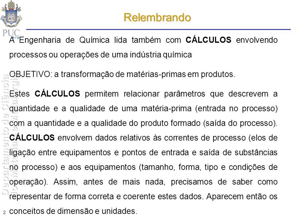 01.04.2017 Relembrando. A Engenharia de Química lida também com CÁLCULOS envolvendo processos ou operações de uma indústria química.