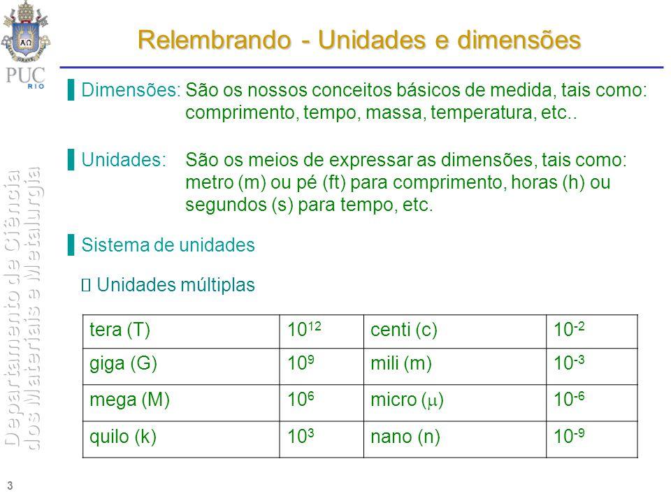 Relembrando - Unidades e dimensões