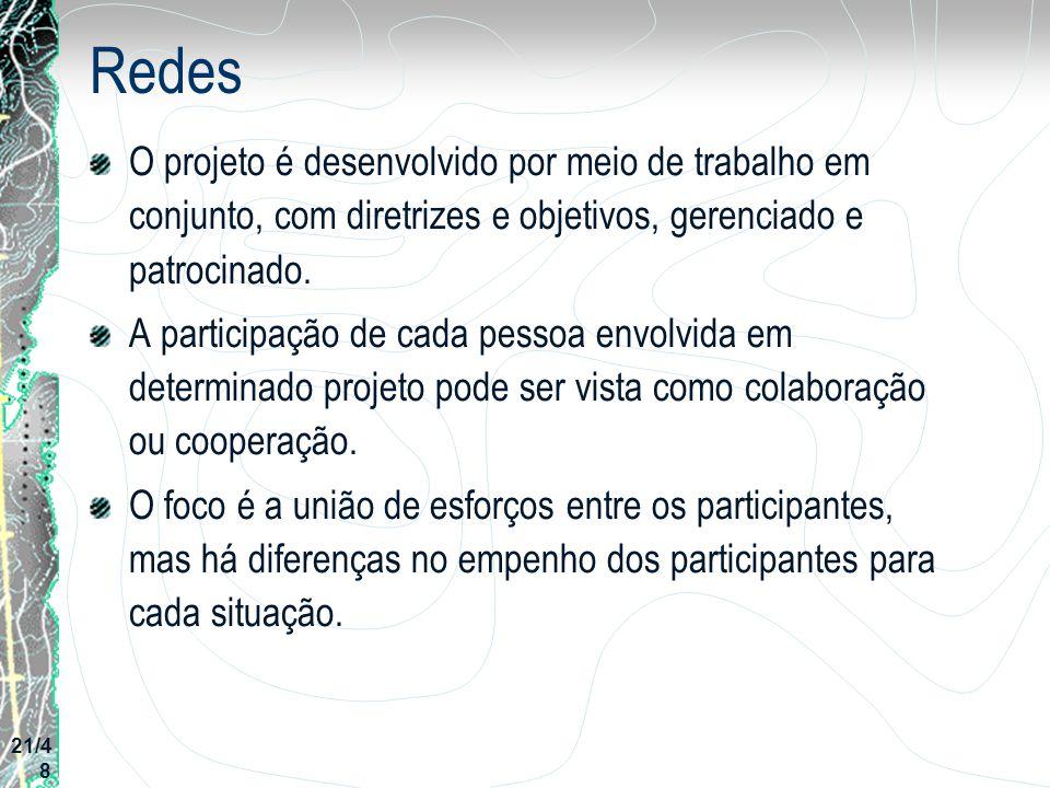 Redes O projeto é desenvolvido por meio de trabalho em conjunto, com diretrizes e objetivos, gerenciado e patrocinado.