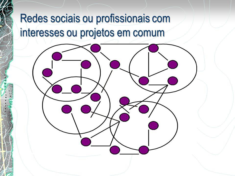 Redes sociais ou profissionais com interesses ou projetos em comum