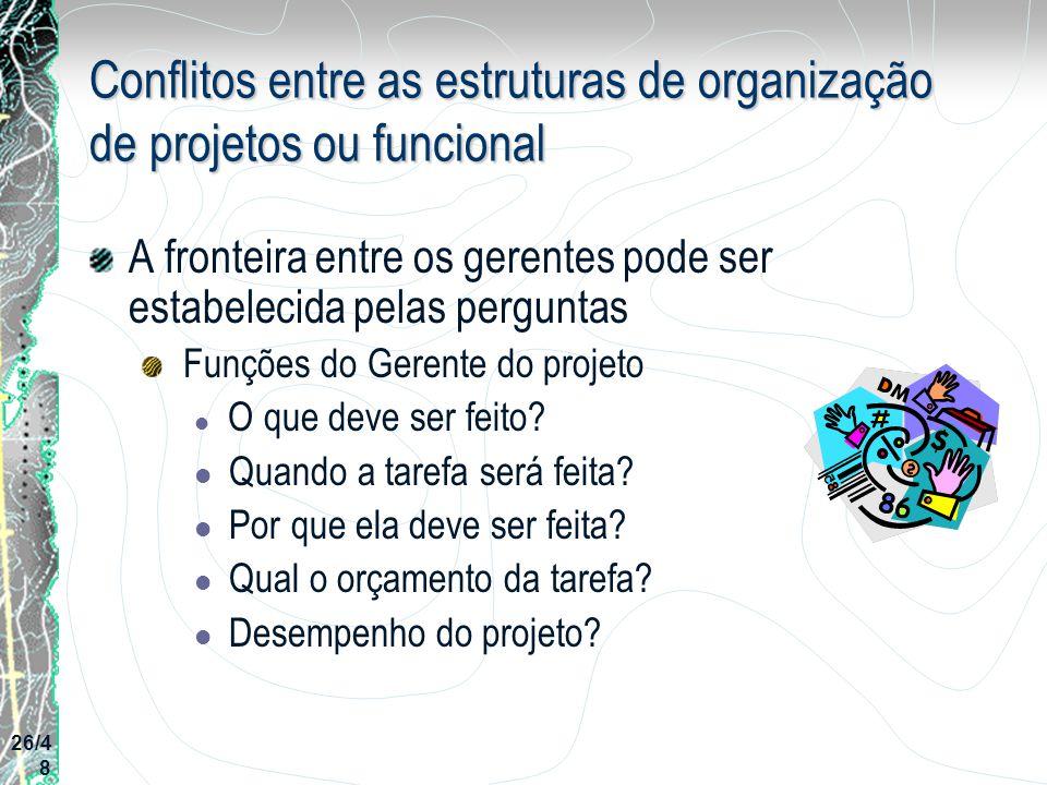 Conflitos entre as estruturas de organização de projetos ou funcional