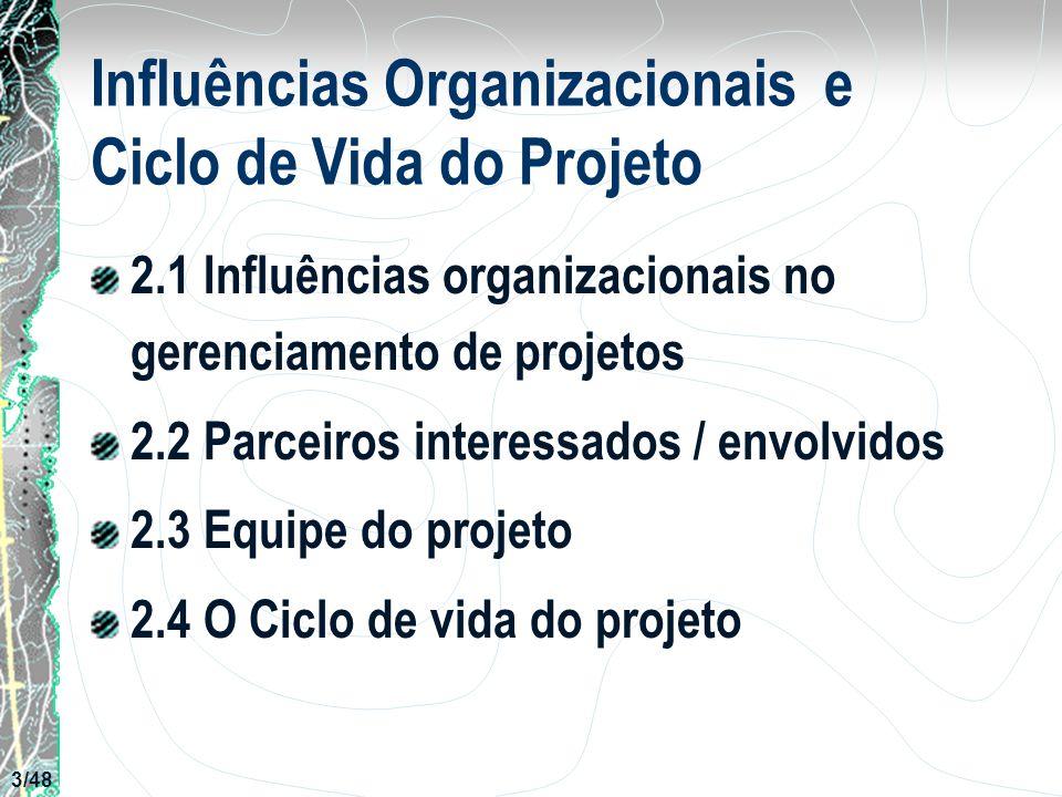 Influências Organizacionais e Ciclo de Vida do Projeto