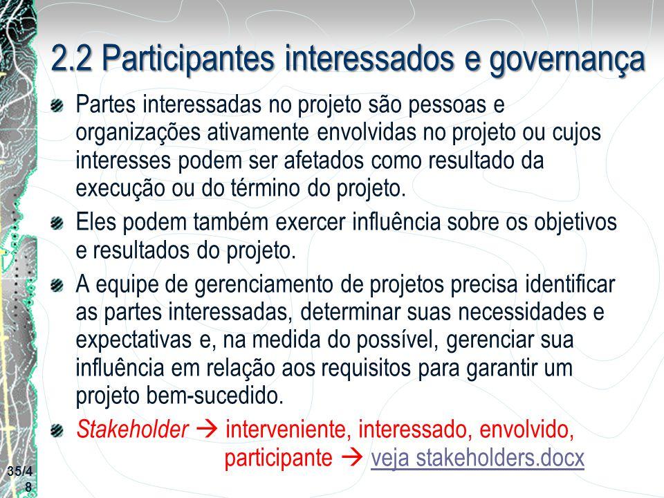 2.2 Participantes interessados e governança