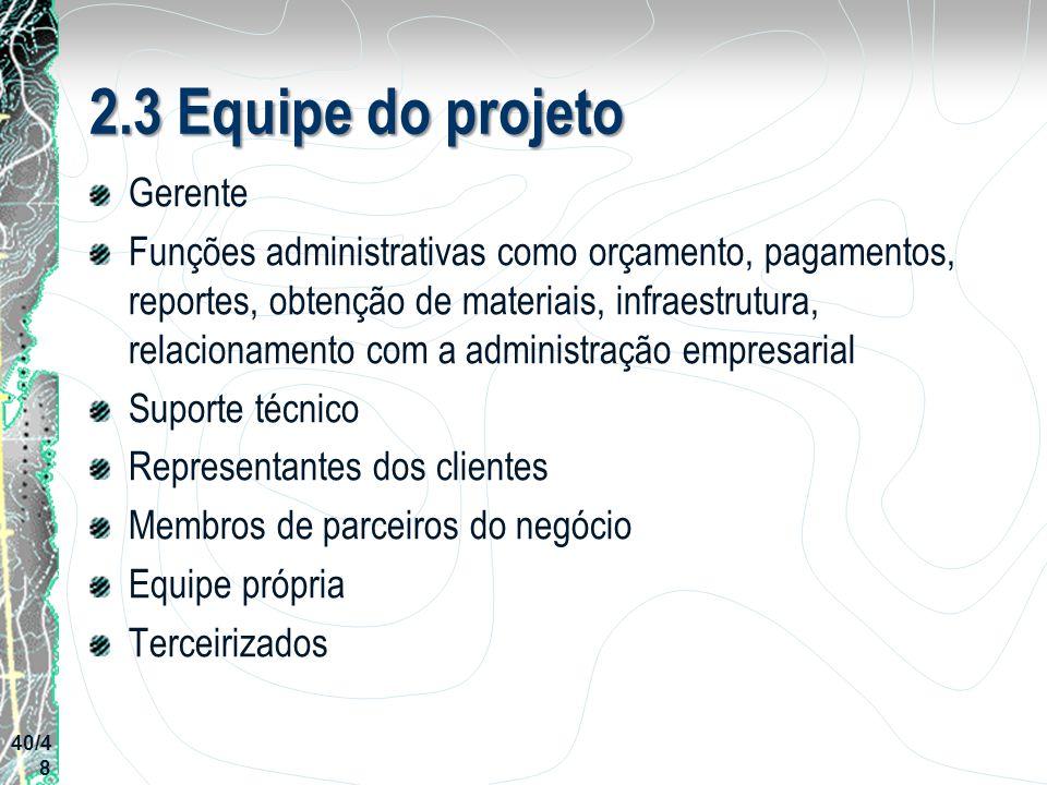 2.3 Equipe do projeto Gerente