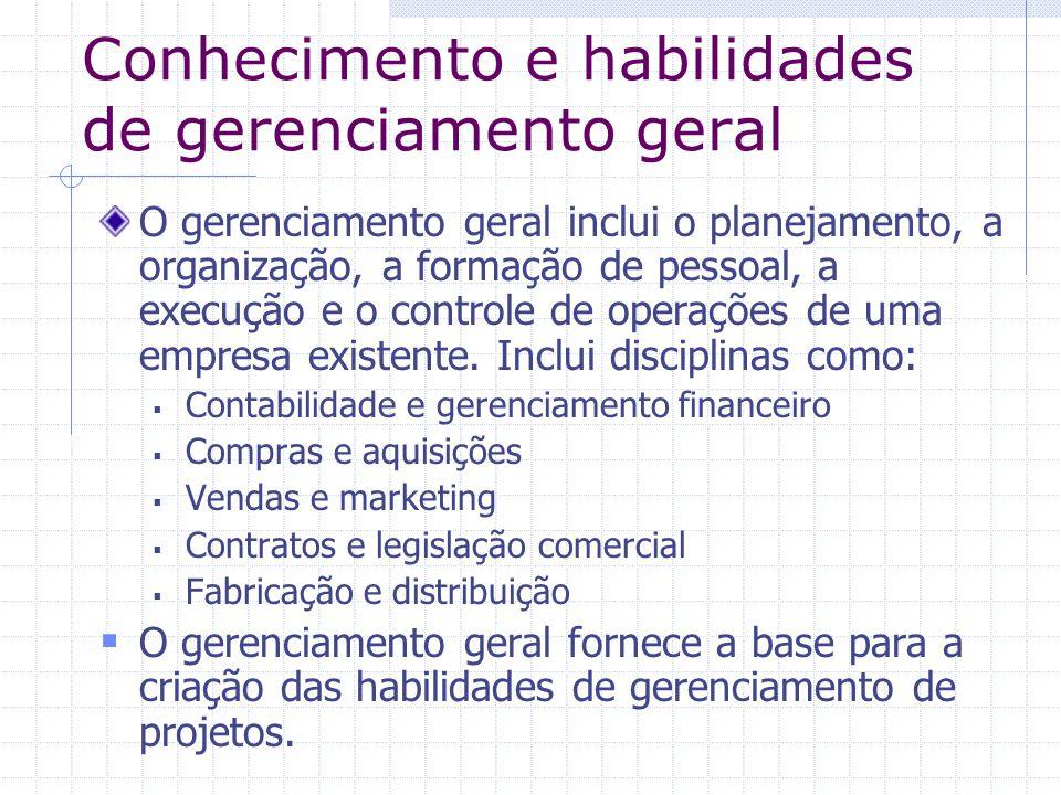 Conhecimento e habilidades de gerenciamento geral