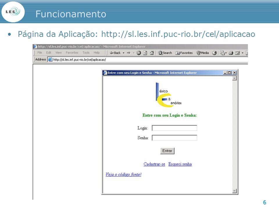 Funcionamento Página da Aplicação: http://sl.les.inf.puc-rio.br/cel/aplicacao