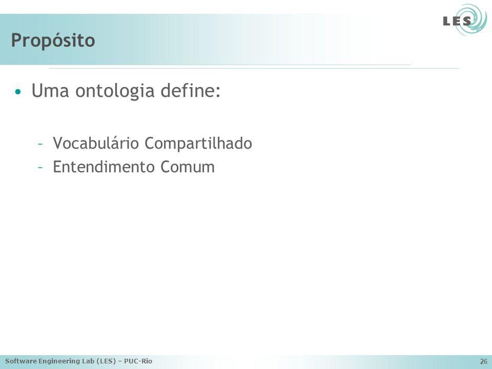 Propósito Uma ontologia define: Vocabulário Compartilhado