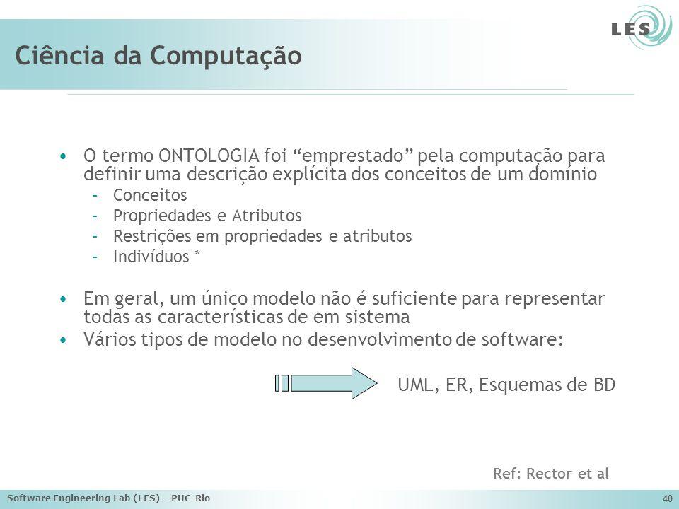 Ciência da Computação O termo ONTOLOGIA foi emprestado pela computação para definir uma descrição explícita dos conceitos de um domínio.